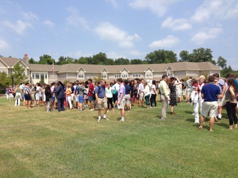 Students line up according to grade level. This was the first fire drill practicing new fire drill procedures.