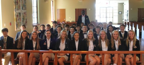 All thirty-four Citizenship students sit in the pews of the Agape chapel. The chapel was one of the few places in which all students could be gathered at one time.