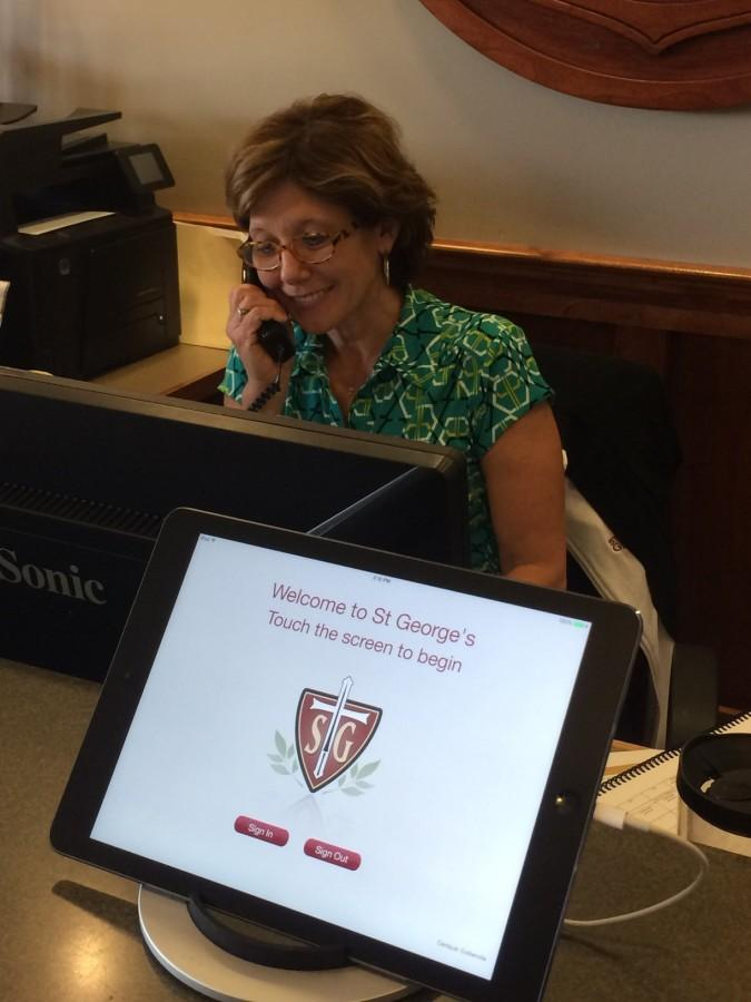 iPads at the front desk photographs students checking in or out. Changes at St. Georges include this new checkout procedure to ensure student accountability.