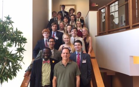 Students and Mr. Mercer with philanthropist Mr. Paul Tudor Jones at Tudor  Investment Corporation headquarters.  Jones founded the corporation in 1980 as well as the Robin Hood Foundation.