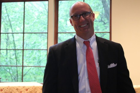 Mr. J. Ross Peters visits the Agape Chapel in April. Mr. Peters will be assuming the role of Head of School in July.