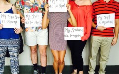 Students pose with signs stating their dress code violation. Students are irritated by the strict, unrealistic dress code modifications.
