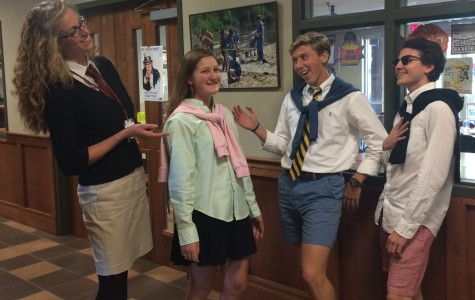 Dean of Students Mrs. Kalyn Underwood and seniors Claire Thomas, Jared Whitaker and Payton McGough pose in their preppy attire. Tuesday's spirit week theme in the middle school was cancer awareness day and preppy versus jocks in the upper school.