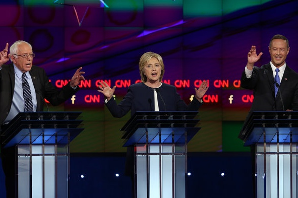 Democrats Bernie Sanders, Hillary Clinton and Martin OMalley battle it out in the first democratic debate. The debate was held on Oct. 13 on CNN.
