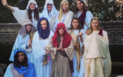 Alexis Margaritis, Sydney Lanyon, Margaret Porter, Isabella Cantu, Sarah Buechner, Claire McCord, Caroline Fossett, Olivia Phillips, Mary Ragan Selberg and Alexia Spentzas dress as the 12 Disciples. Spirit week in the upper school began with group day.