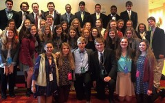 The thirty-nine St. George's participants take a group picture on the last day of the conference. This was the largest group sponsor Mrs. Emily Philpott has ever seen participate in a conference.