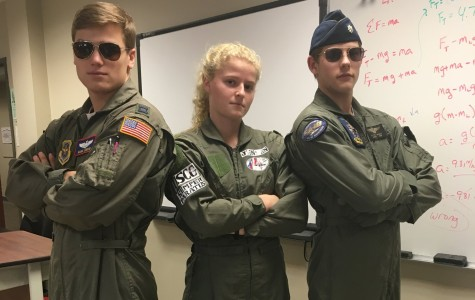 Seniors Jake Lindow, Karina Jensen and Noah Woods dress as fighter pilots. Thursday, Jan. 28, was the fourth day of spirit week with the theme of Career Day.