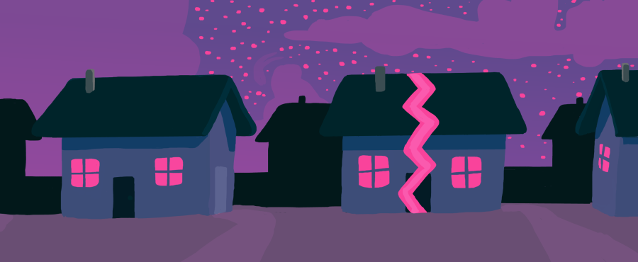 A house stands cracked amongst the neighborhoods in this illustration. Although I dont live in a picture-perfect family and have two houses, my parents divorce has taught me responsibility, independence and the value in differences.