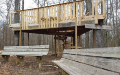 The treehouse stands in the woods almost completed. After the idea first emerged in 2010, the treehouse will officially open on April 9.