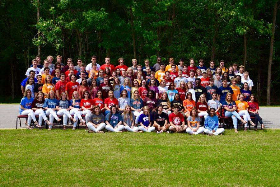 The seniors pose for a class photo on College T-Shirt Day. The class of 2016 is venturing near and far for college, from downtown at the University of Memphis to across the pond at the University of St. Andrews in Scotland.