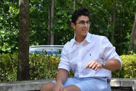 Abdul smiles in the midst of a conversation outside the St. George's lunch room. Abdul recently traveled from Lebanon to study with the class of 2018 for six weeks