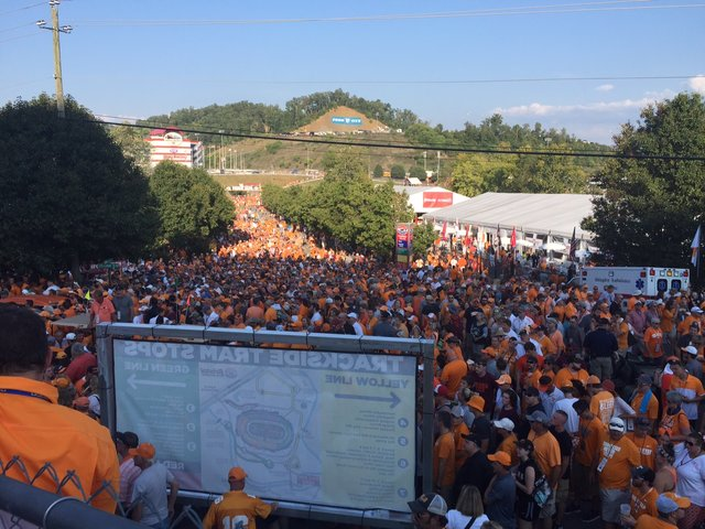 Fans file into the Bristol Motor Speedway. The Tennessee Volunteers faced off against the Virginia Tech Hokies in Bristol, Tenn. drawing a crowd of almost 157,000 fans.