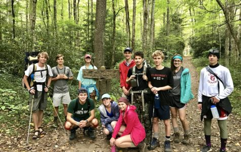 Students from the SGGO camping trip pose for a photo. While some students stayed in town during the break, others went out of town.