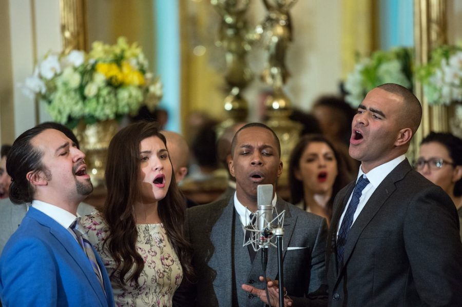 Cast members perform musical selections from the Broadway musical Hamilton in the East Room of the White House on March 14, 2016. Members of the Hamilton cast directed closing comments to Vice President-Elect Mike Pence.