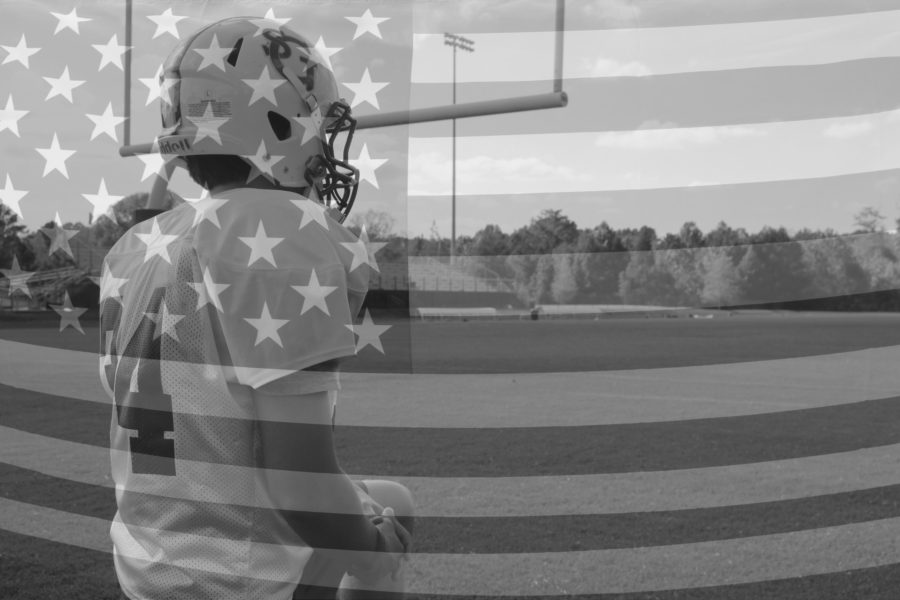 A senior football player walks onto the Ferguson Field. Athletes across the nation, inspired by Colin Kaepernick, have been protesting the national anthem.