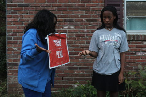 Eighth-grader Joy Huff and her mother act out their disagreement regarding the current election cycle. For generations, young people have been  more likely to share the beliefs of their parents than disagree.