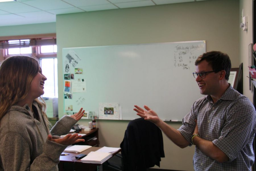 Mr. Slatery converses with senior Abbie Cloutier. Mr Slatery is the new Assistant Dean of Students.