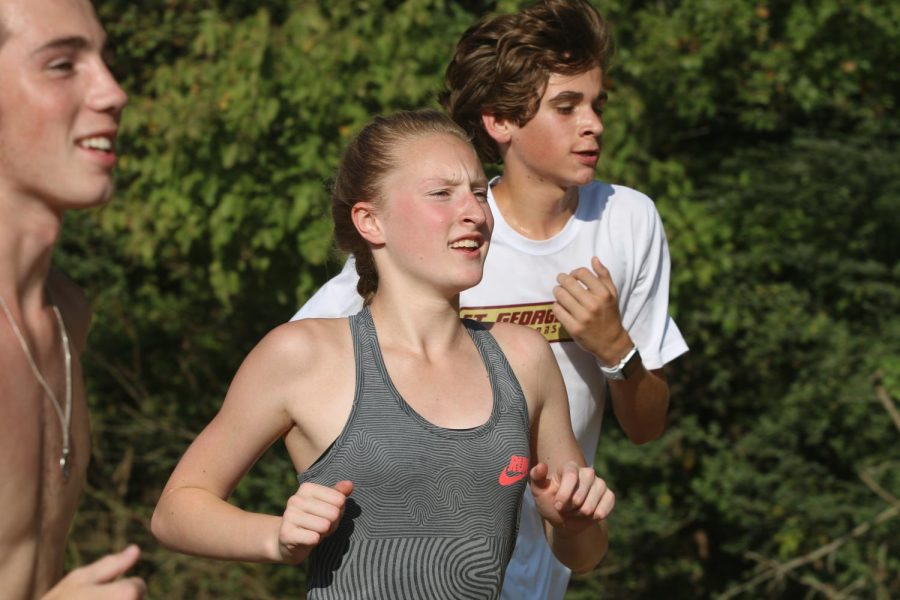 Allison+Newman+participates+in+a+intense+cross+country+practice.+Girls+cross+country+coach+Lesley+Brainard+has+always+appreciated+the+work+that+Allison+puts+into+the+team.+