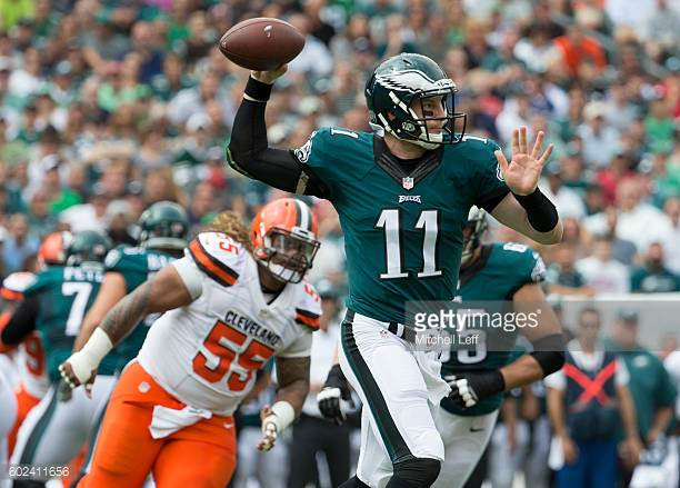 Carson+Wentz+throws+a+pass+against+the+Cleveland+Browns.