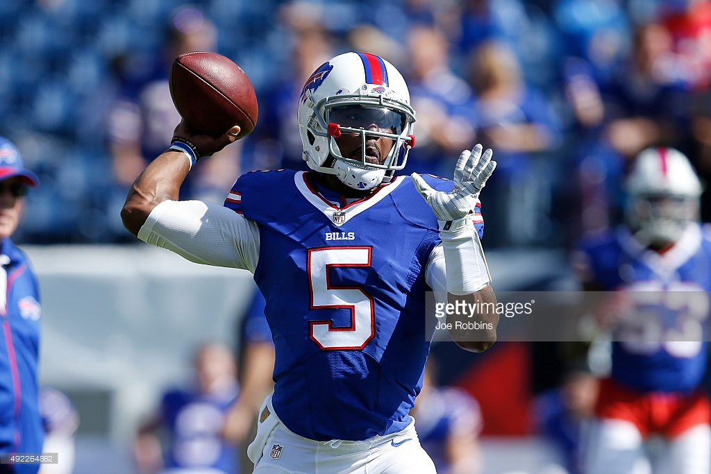 Tyrod Taylor of the Buffalo Bills warms up before a game in 2015. Taylor's Bills made the playoffs, but also have two first-round selections in the upcoming draft.