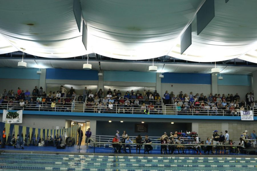 Parents and fans watch the meet intensely from the side of the pool. Junior Sara Matheson could be found among the fans, having come to the meet to support her friends.