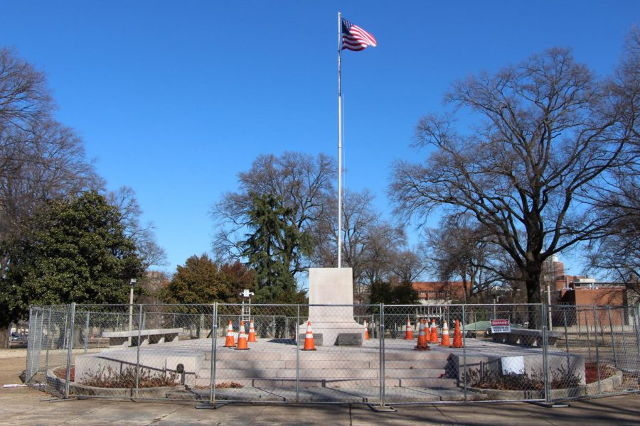An American flag flies behind the base of the Nathan Bedford Forrest statue. Health Sciences Park, where the statue stood, was sold to Memphis Greenspace, Inc. allowing the statue to be removed with being restrictured by the 2013 Tennessee Heritage Protection Act.