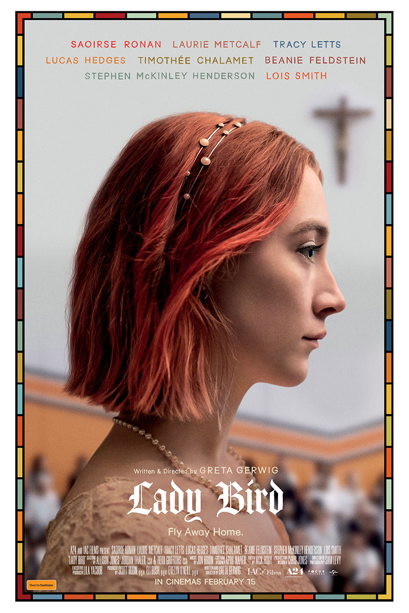 The officially released Ladybird poster shows the title character in her Catholic school. Ladybird is shown to have a tenuous relationship with her Catholic background, something that develops as the film goes on.