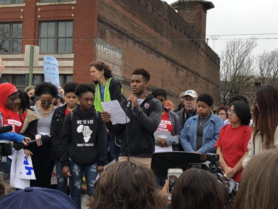 Senior Bryan Payne speaks out about the death of his brother at the March for Our Lives rally in downtown Memphis on March 24. Payne was one of many who spoke about how gun violence has affected the lives of those who live in the Memphis community.