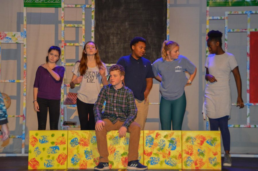 The six leading characters prepare for the opening number. The middle school play ran for four days at the Germantown Campus.