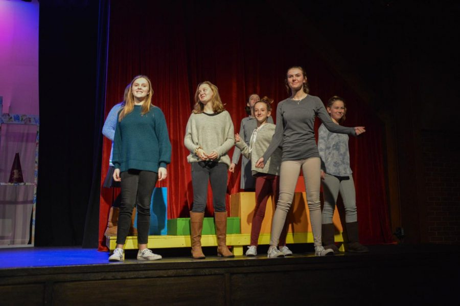 From left to right: Julianne Hurley, Sophie Stone, Hagen Brock, Mary Frances Forbes, Madline Clark, and Mary Caroline Collier dance to the opening number in the Middle School Play. The play being put on this year is School House Rock Jr. Live.