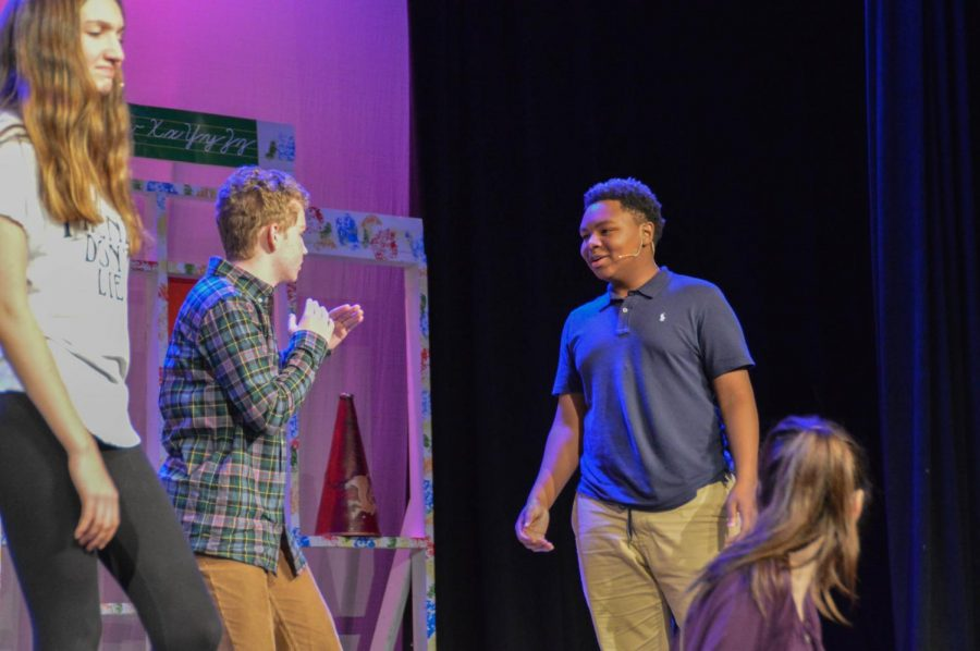 Nicolas Gutierrez (left) and Jamez Jordan (right) practice for the play. The play opened this past Thursday, January 24th.