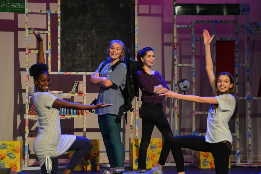 """From left to right: Deja Harris, Mary Alice Murphy, Kate Vento, and Angelina David stick their ending poses for """"Unpack Your Adjectives."""" These four young ladies play Joanna, Shulie, Dina, and Dori, respectively."""