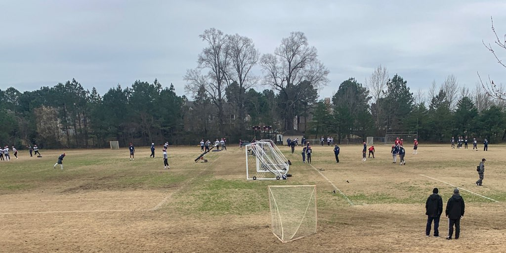 The Memphis Express practice at the St. George's practice facilities. The Express needed a practice location with real grass.