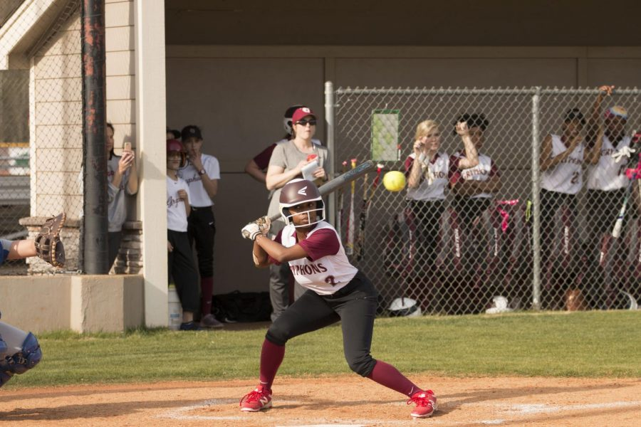 Sophomore+Kayla+Hayes+carefully+stays+her+hand+as+the+softball+goes+above+the+strike+zone+while+she+is+up+at+bat+against+Harding+Academy.+Hayes+played+competitive+softball+before+joining+the+St.+George%E2%80%99s+team+this+season.