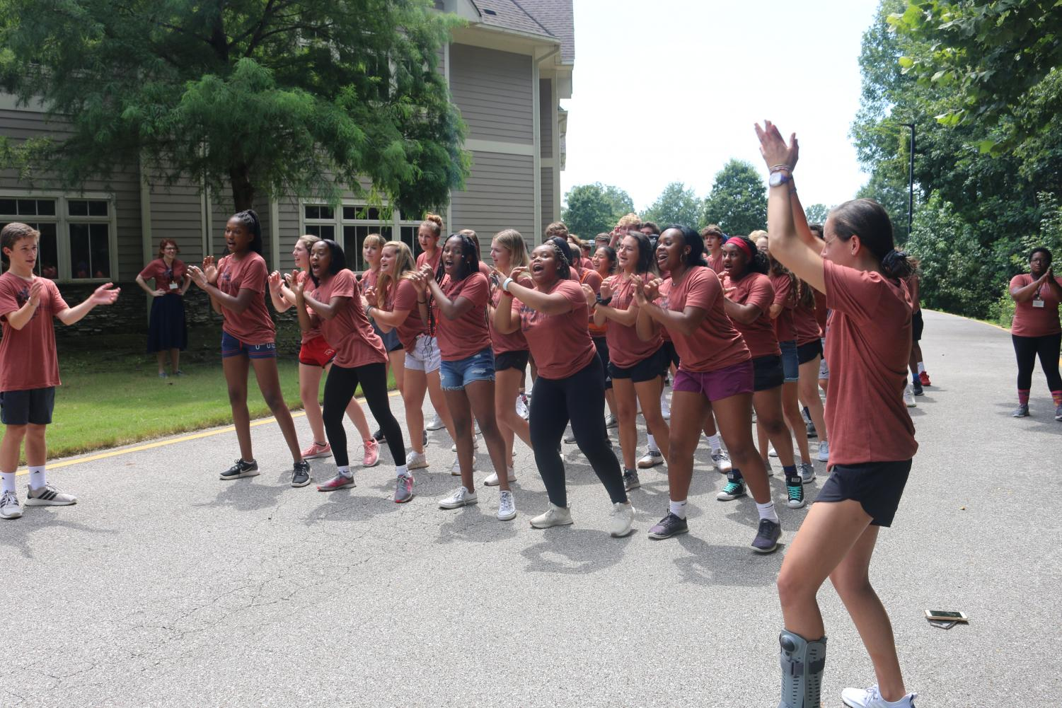 Cypress practices their stomp cheer routine. The stomp competition was paired with a dance-off to fill out the afternoon.