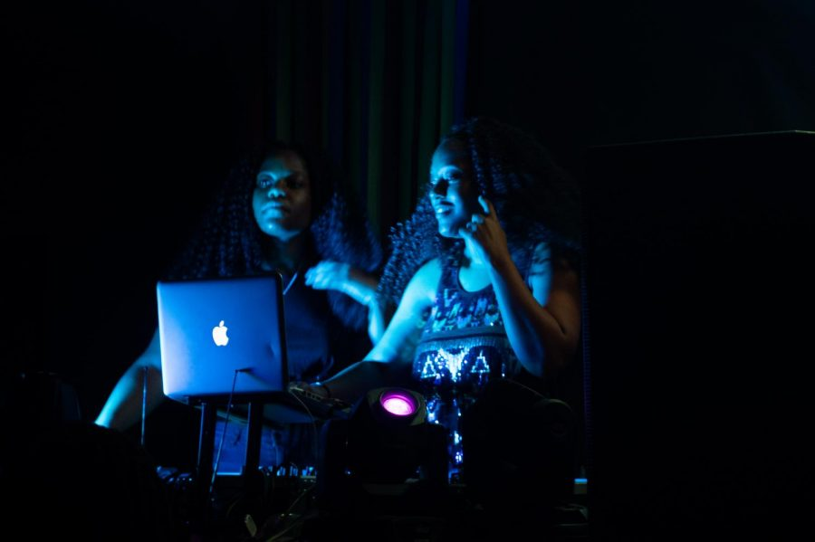 Twins+DJ+Tootz+are+spinning++the+playlist+created+by+the+student+body.+They+took+turns+spinning+and+interacting+with+the+crowd.++