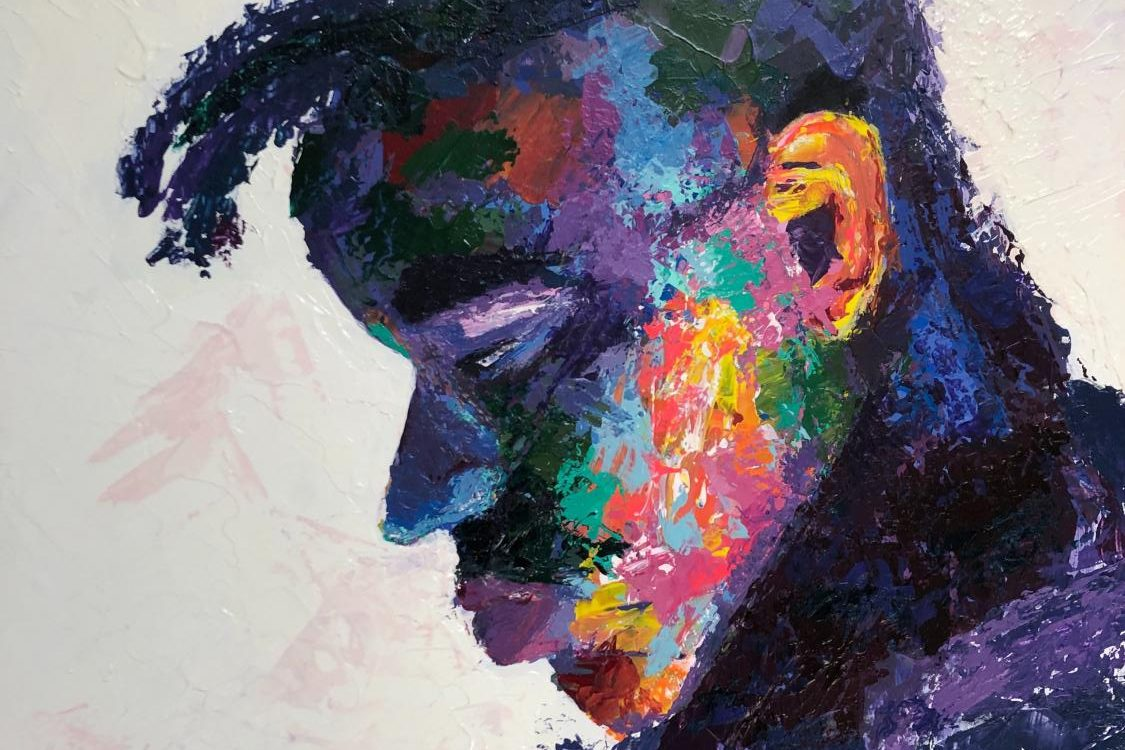 This is a painting of senior Tyler Beasley by senior Paiden Reed. Reed takes visual arts II with Middle and Upper School Artist in Residence teacher Mr. Danny Broadway.