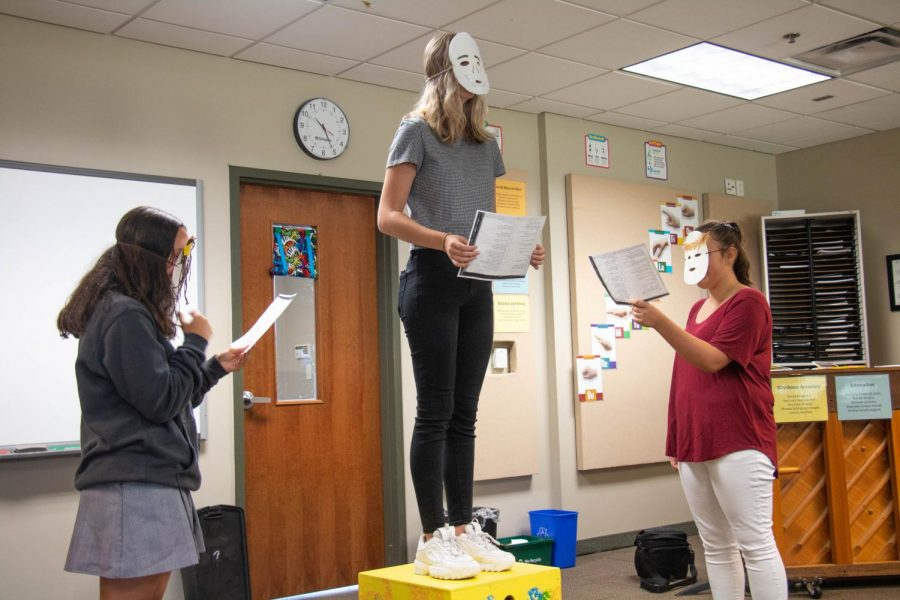 Freshman Reagan Goodwin, Anna Katheryn Fleenor, Juliana Carpenter, participate in an activity in Intro to Theater Class. The class teaches students who are interested in getting onto a stage and participating in school plays.