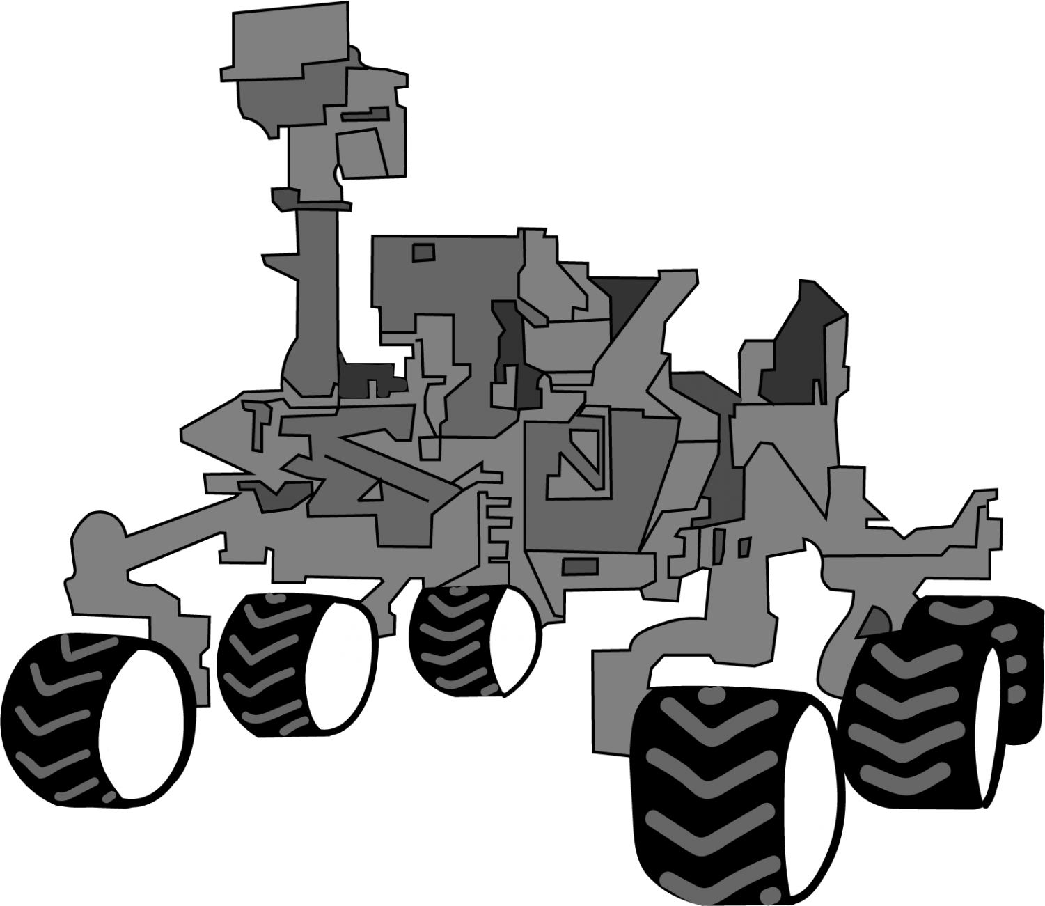 Stylized illustration of the Curiosity rover by Sierra Sellers. The Mars 2020 rover will be nearly identical to Curiosity.