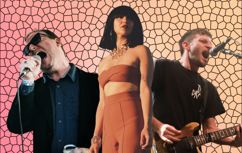 Left to right, Joe Casey of Protomartyr, Laura Lee of Khruangbin, and Stefan Babcock of PUP. All three groups released new singles this week. Photoillustration by Owen Hewitt