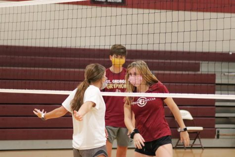 Sophomore Mary Wilkes Dunavant taunts Junior Ally Martin during the St. George