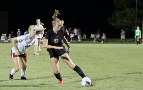 Junior Brenlin Mulaney starts to move ball down the field away to the goal. She scored three goals in total during Region Semi-Final.