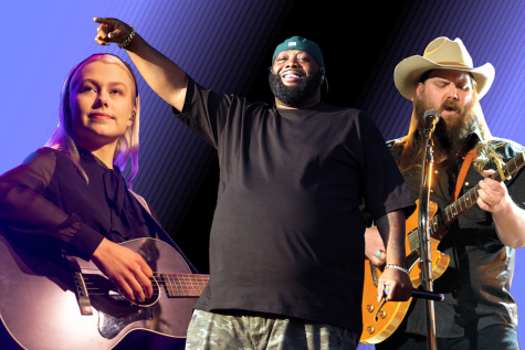 (Left to Right) Phoebe Bridgers, Killer Mike of Run The Jewels and Chris Stapleton. All three artists released albums in 2020. Photo Illustration by Owen Hewitt