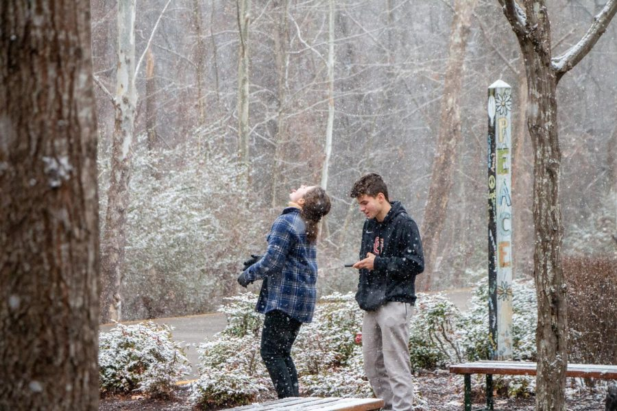 Katharine Quinn ('23) stands with Seth Taub ('23) while enjoying their limited time in the snow. Students were often found outside on January 10th trying to soak up the snowflakes.