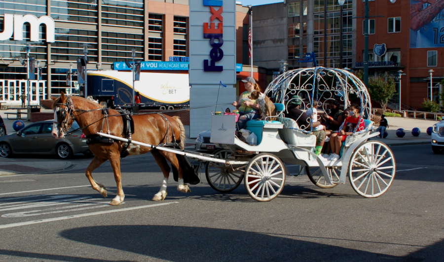 A carriage full of people drives across a street in front of the FedEx Forum. Carriage rides were one of several downtown attractions that have reopened.